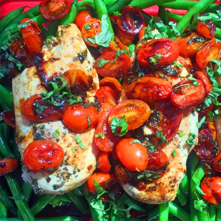 Balsamic Chicken over top Cherry Tomatoes and Blanched Green Beans