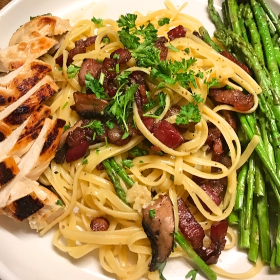 GF Mushroom Pasta with Grilled Chicken and Asparagus
