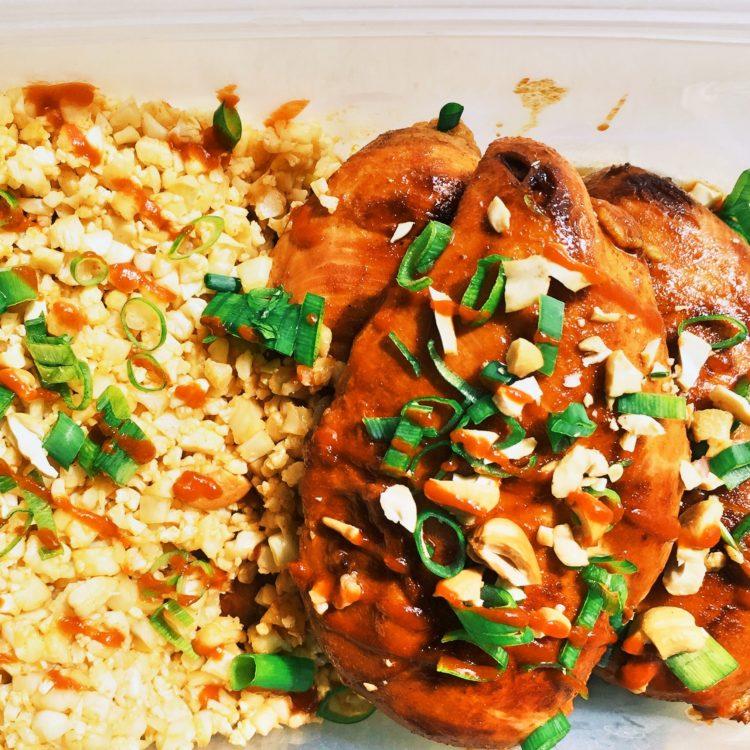 Paleo Pad Thai Chicken with Cauliflower Fried Rice